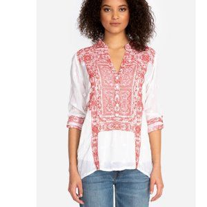 Johnny Was WHISPER TUNIC White & Red NWT Size XL
